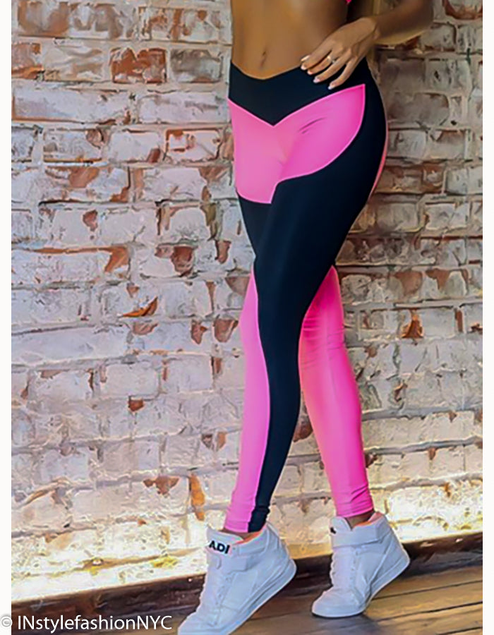 Women's Hot Pink And Black Fitness Top And Pant Set, INstyle fashion