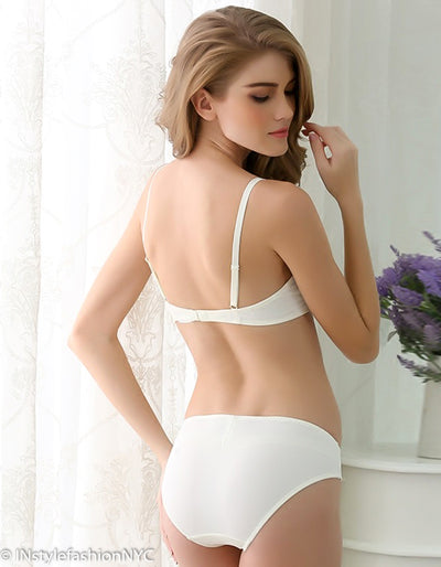 Women's Ivory Smooth Cotton Bra And Panty Set, INstyle fashion