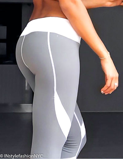 2acc021dd62fb Women's Light Gray And White Fitness Leggings, INstyle fashion ...