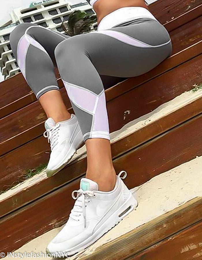 Women's Light Gray And White Fitness Leggings, INstyle fashion