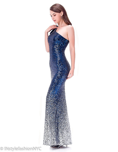Women's Navy Blue And Silver Sequin Dress, INstyle fashion