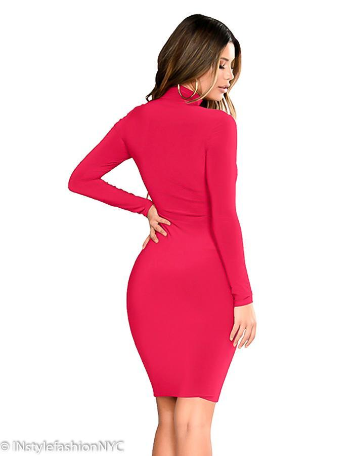 Women's Pink Long Sleeve Bandage Dress, INstyle fashion
