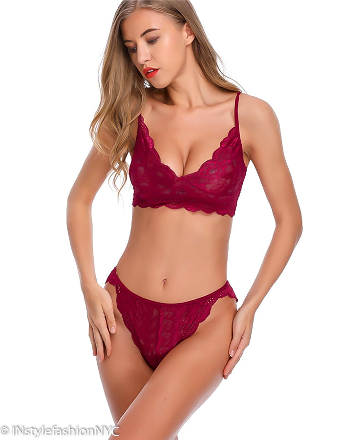 Women's Red Lace Bralette And Panty Set, INstyle fashion