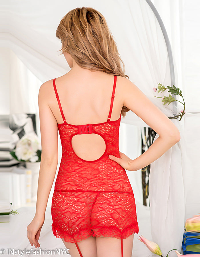 Women's Red Lace Chemise, Garter And Panty Set, INstyle fashion