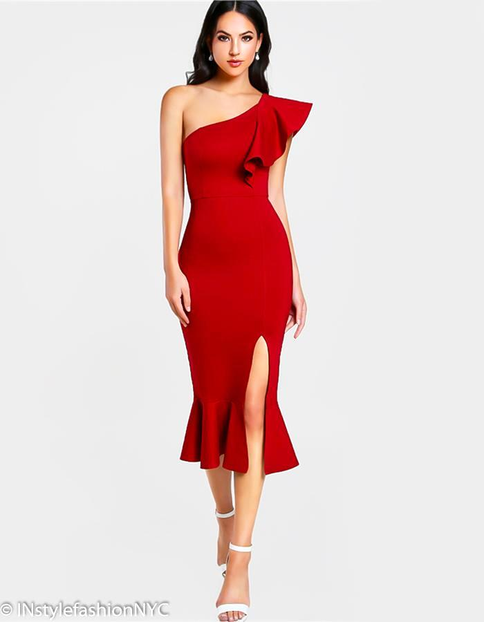 Women's Red One Shoulder Flounce Dress, INstyle fashion