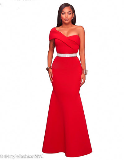 Women's Red One Shoulder Trumpet Dress, INstyle fashion