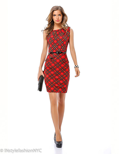 Women's Red Plaid Pencil Dress, INstyle fashion