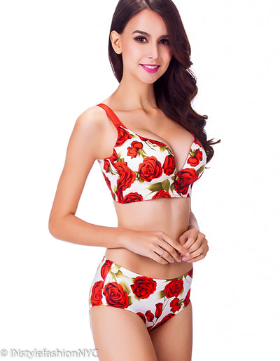 Women's Red Rose Push Up Bra And Panty Set, INstyle fashion