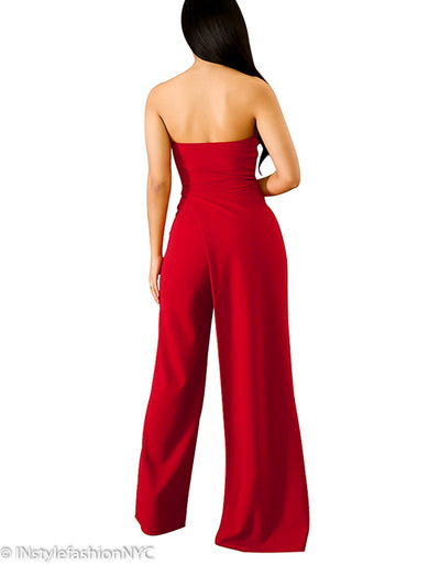 Women's Red Split Leg Jumpsuit, INstyle fashion
