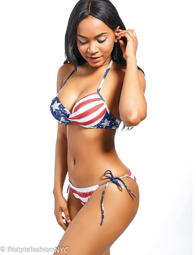 Women's Red Striped Flag Print Bikini Swimwear