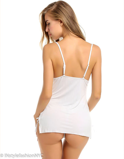 Women's White Chemise With Sheer Lace Trim, INstyle fashion