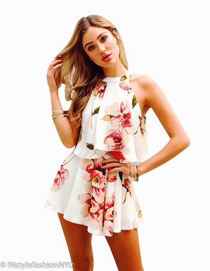 Women's White Floral Cropped Top And Shorts Set, INstyle fashion