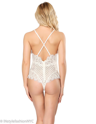 Women's White Lace Criss Cross Back Teddie, INstyle fashion