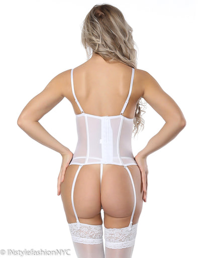Women's White Lace Up Front Bustier And G-String Set, INstyle fashion