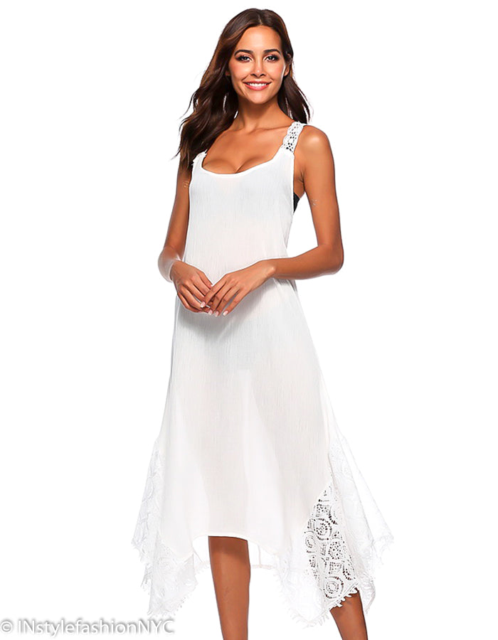 a0cb704444667 Women's White Tie Back Cover Up, INstyle fashion