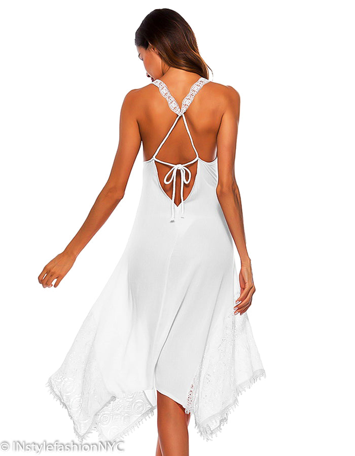 Women's White Tie Back Cover Up, INstyle fashion