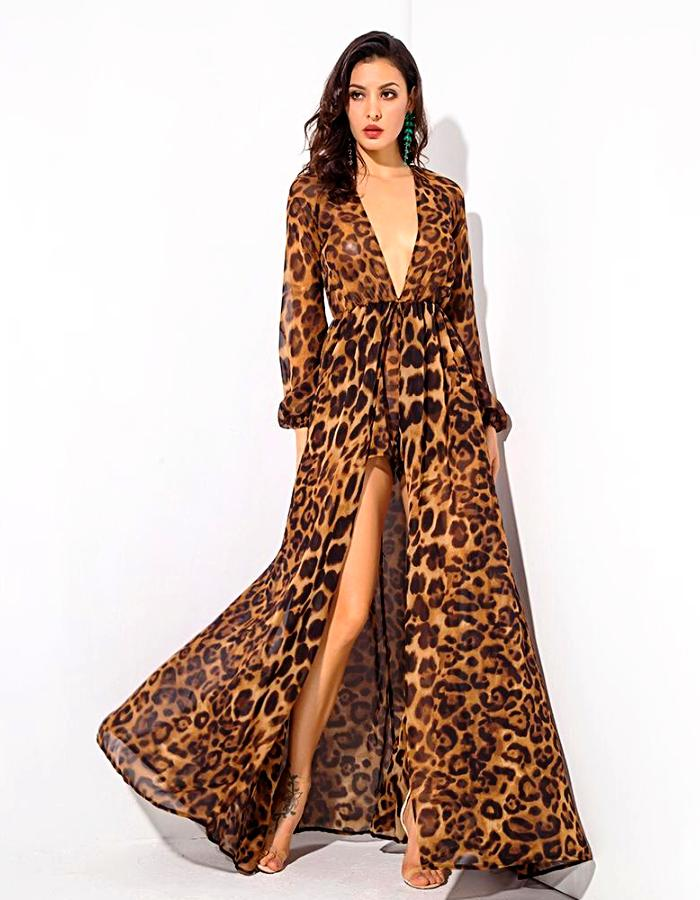 Women's Leopard Long Sleeve Playsuit Dress, INstyle fashion