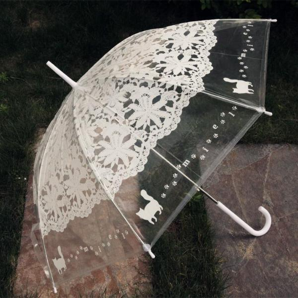 INstyle Clear With Lace And Cat Paw Print Umbrella