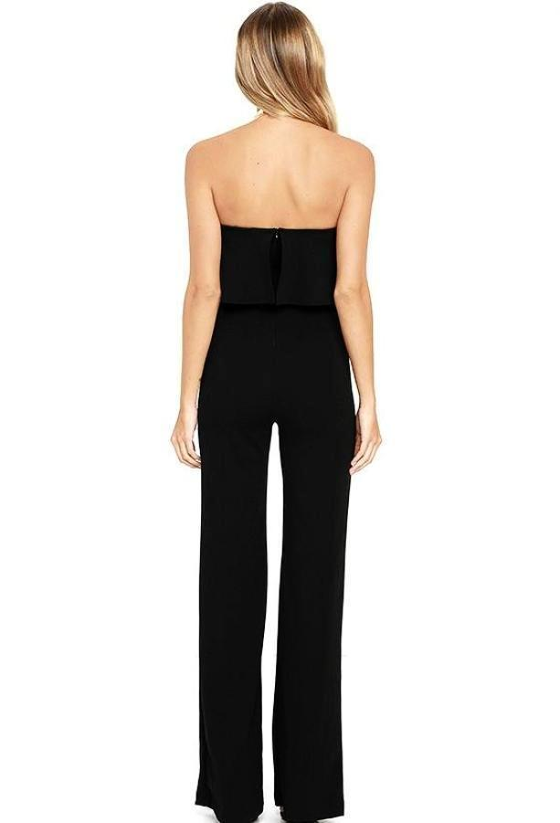 Women's Black Layered Strapless Pantsuit, INstyle fashion