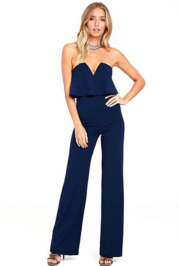Women's Dark Blue Layered Strapless Pantsuit, INstyle fashion