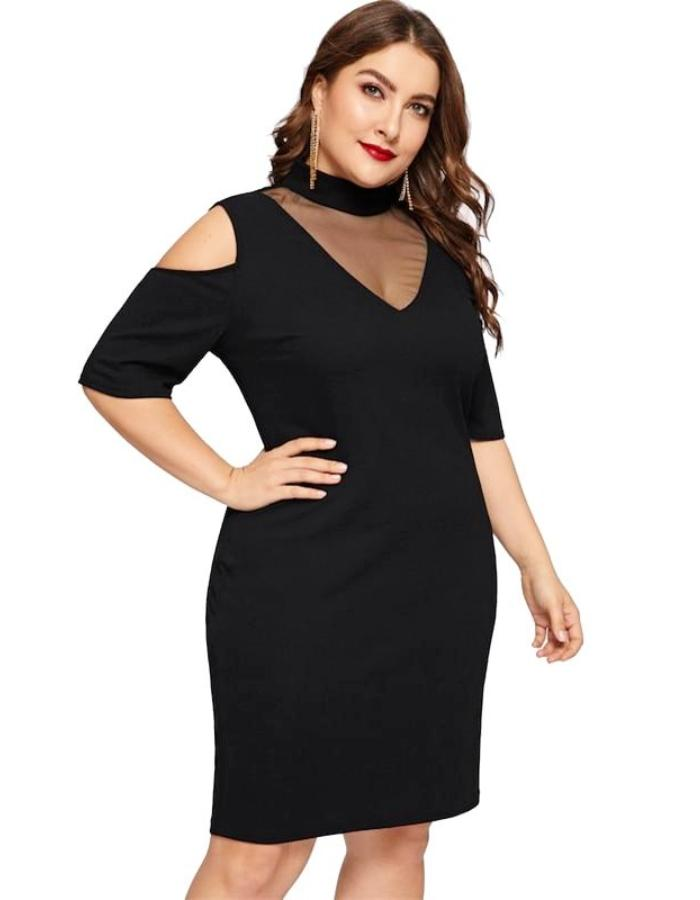 Women's Black Cold Shoulder Plus Size Dress