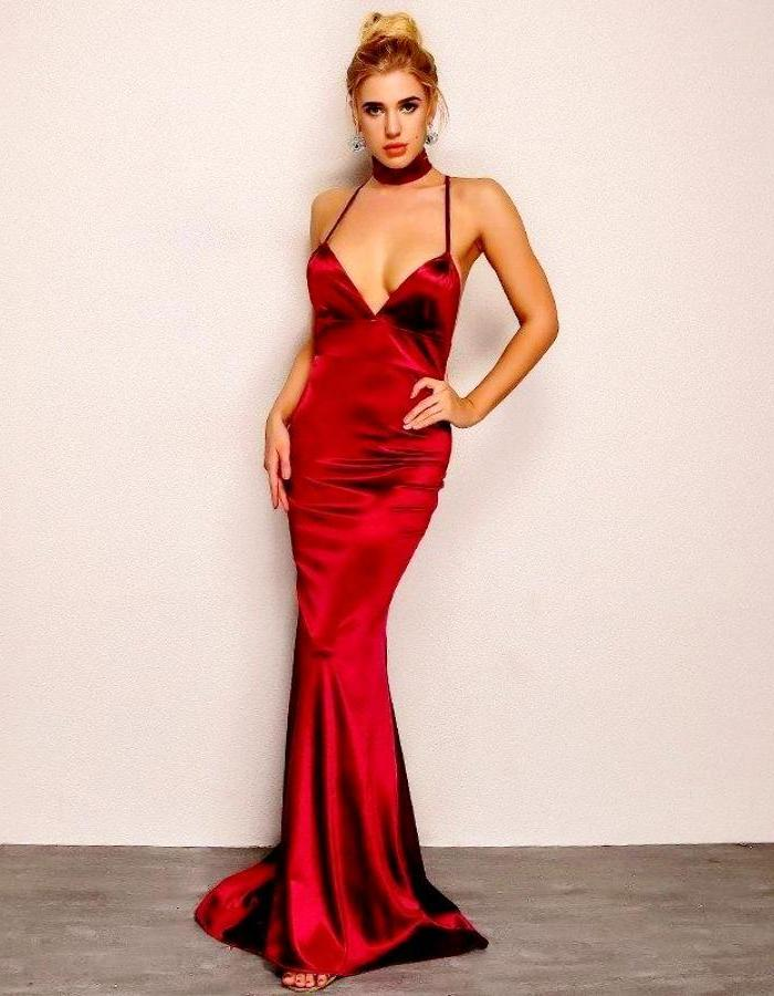 Women's Red Plunging Neckline Satin Dress With Train, INstyle fashion
