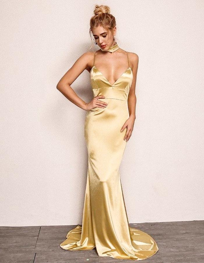 b52faf62b2 Women s Gold Plunging Neckline Satin Dress With Train