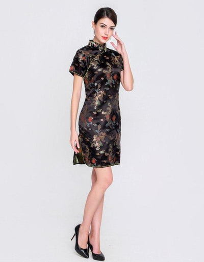 Women's Black Short Sleeve Qipao Dress, INstyle fashion