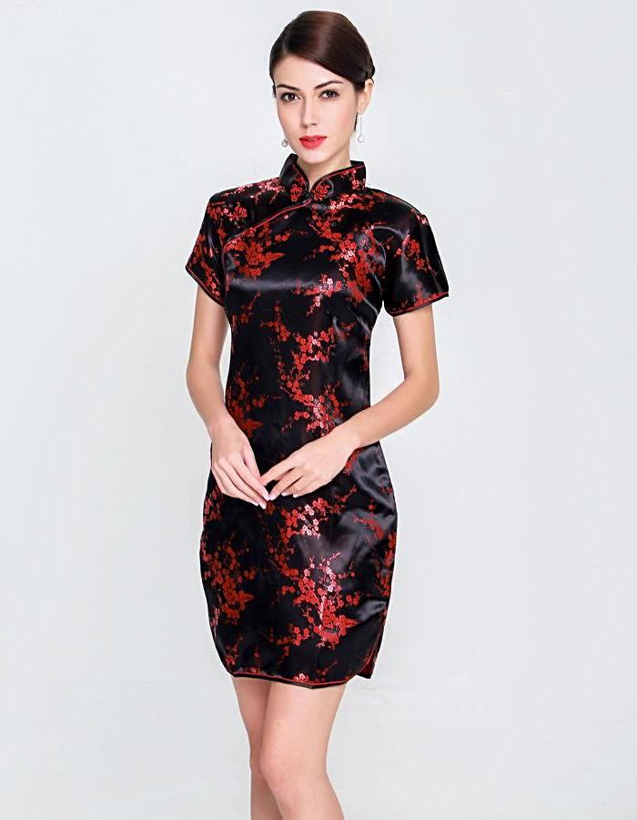 Women's Black Flowering Qipao Dress, INstyle fashion