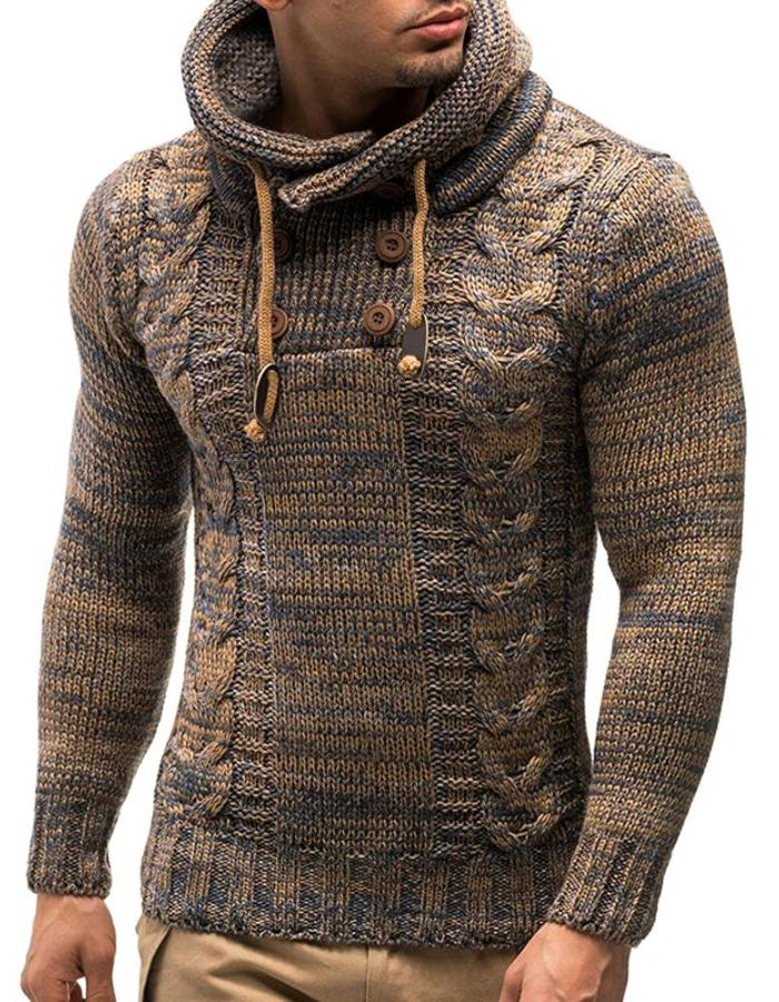 Men's Brown Shawl Neck Braided Rope Sweater, INstyle fashion