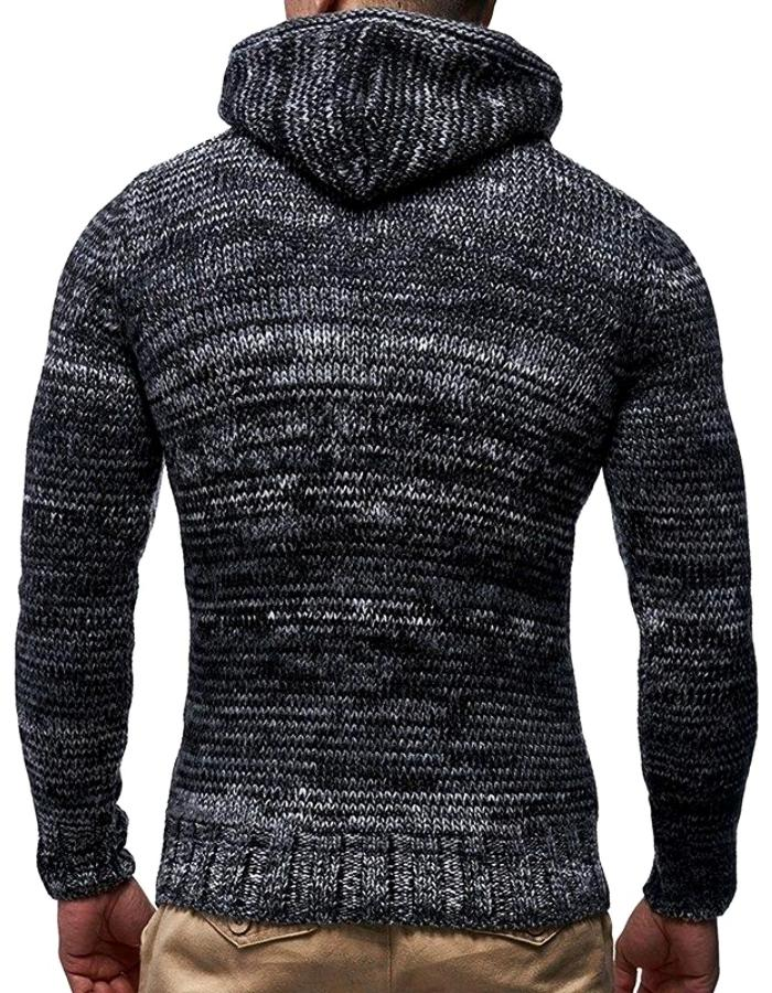 Men's Black Shawl Neck Braided Rope Sweater, INstyle fashion