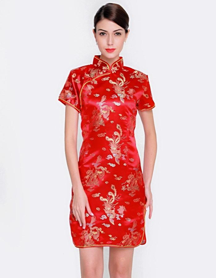 Women's Red And Gold Qipao Mini Dress, INstyle fashion