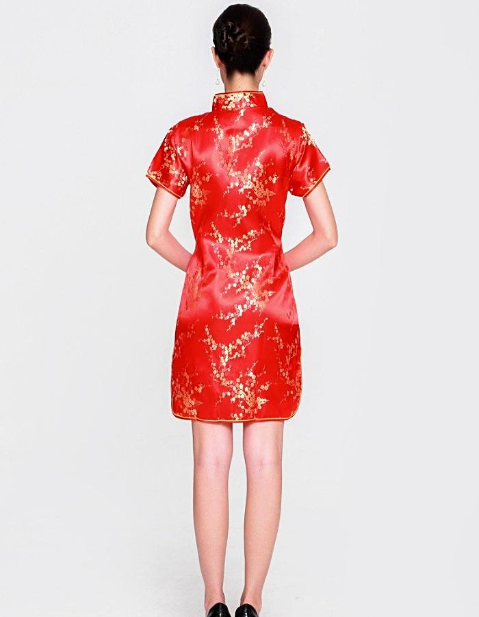 Women's Red And Gold Flowering Qipao Dress, INstyle fashion