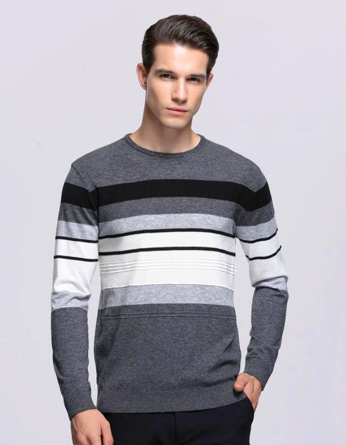 Men's Gray Pullover Sweater With Stripes, INstyle fashion