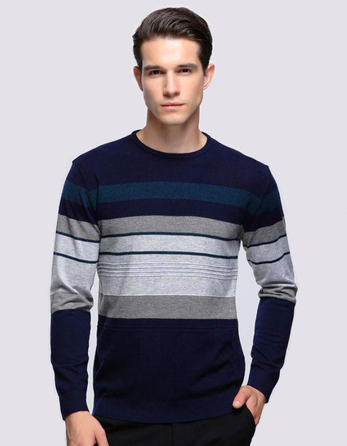 Men's Dark Blue Pullover Sweater With Stripes, INstyle fashion