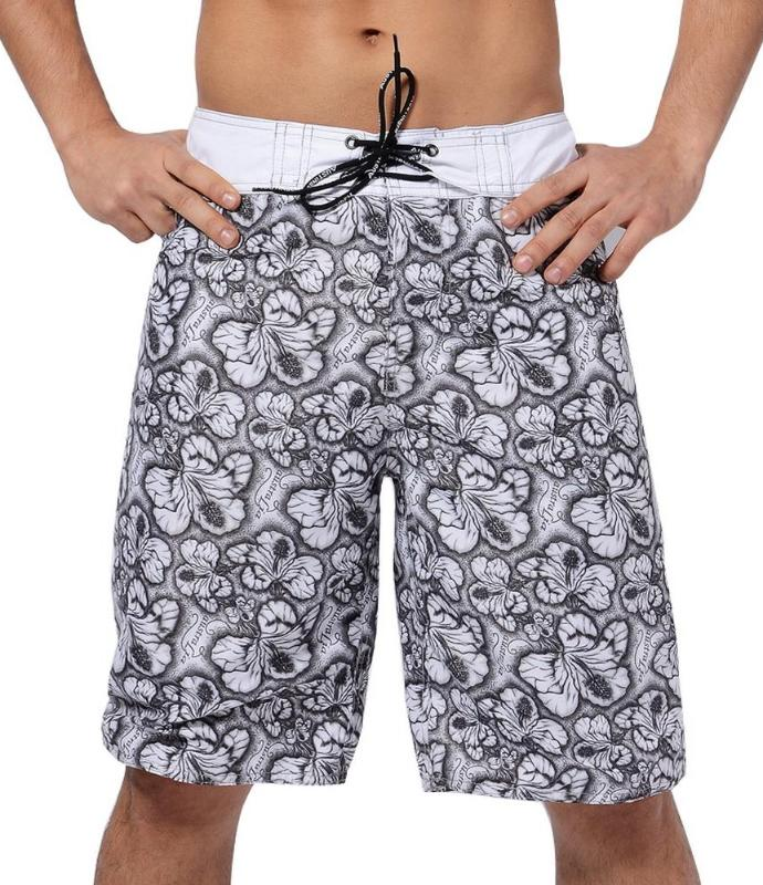 Men's Black And White Hibiscus Long Board Shorts, INstyle fashion