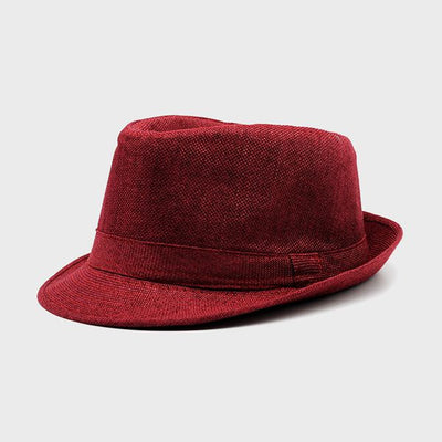 Men s Large Brim Fedora Linen Hat ba3ec633877