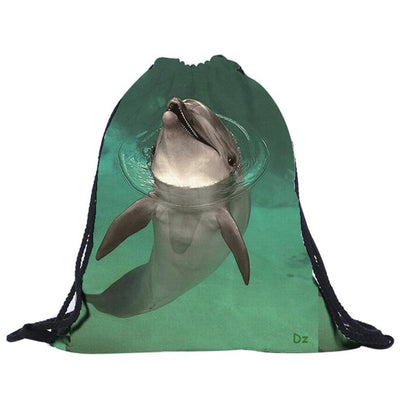 Swimming dolphin drawstring bag, INstyle fashion