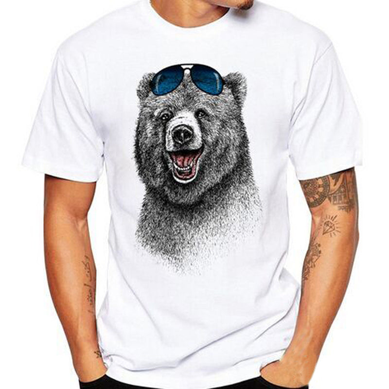 Men's Short Sleeve Bear In Sunglasses T Shirt, INstyle fashion