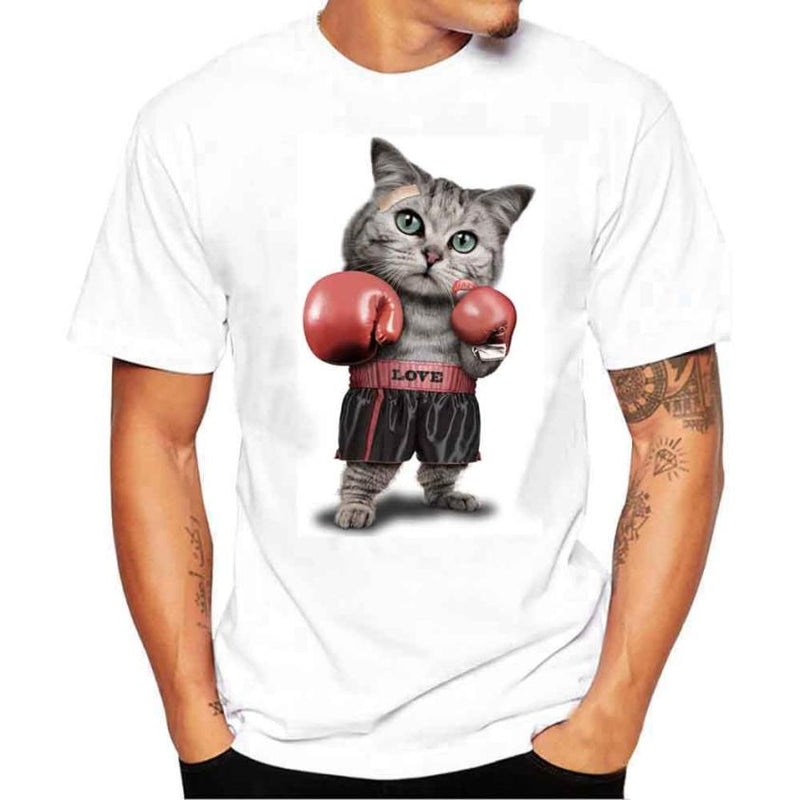 Men's Short Sleeve Cat In Boxing Gloves T Shirt, INstyle fashion