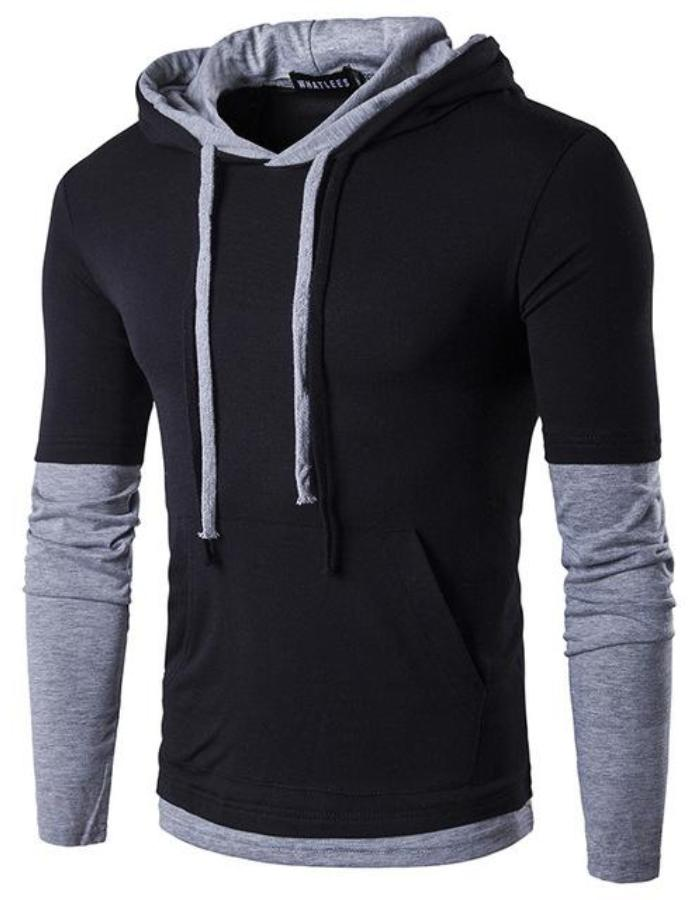 Men's Black Long Sleeve Hoodie, INstyle fashion
