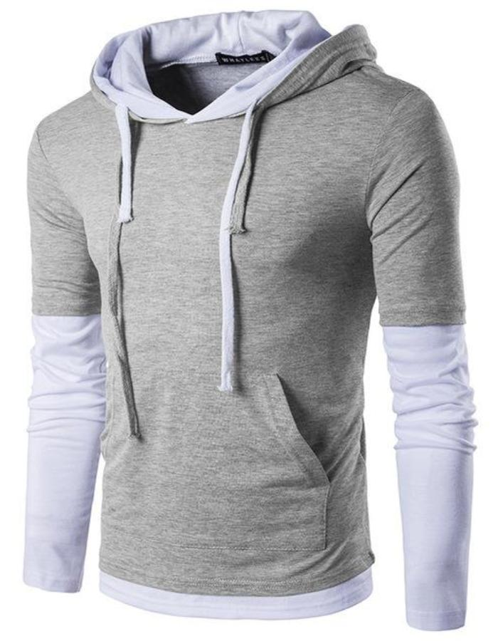 Men's Light Gray Long Sleeve Hoodie, INstyle fashion