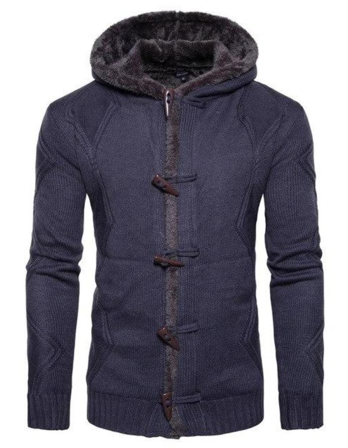 Men's Blue Hooded Jacket With Toggles, INstyle fashion