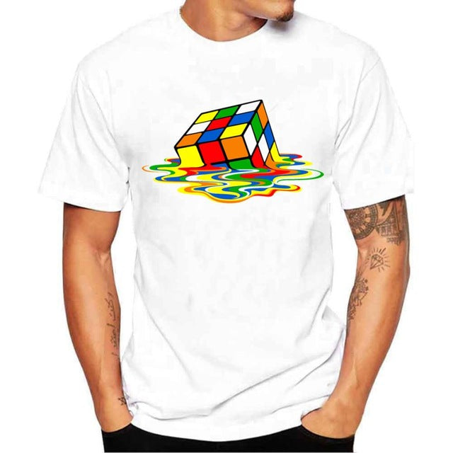 Men's Humor Melting Rubik's Cube T Shirt, INstyle fashion