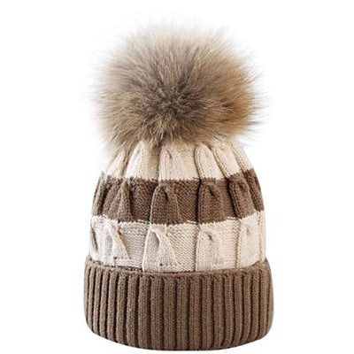 women_cream_and_brown_striped_knit_beanie_with_fur