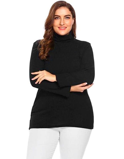 Women's Black Plus Size Turtleneck Sweater, INstyle fashion