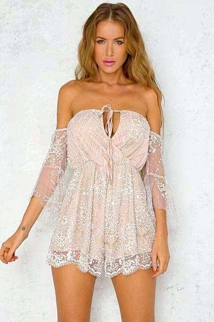 Women's Beige Glittering Lace Overlay Romper, INstyle fashion