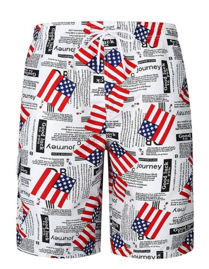 Men's Black Newsprint Flag Board Shorts, INstyle fashion