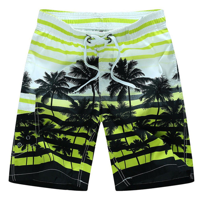 Men's Green and White Tropical Swimwear, INstyle fashion