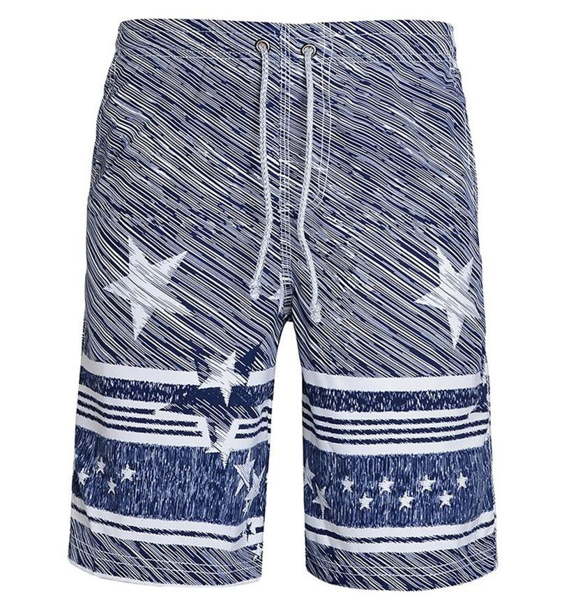 Men's Blue And White Star Swimwear, INstyle fashion